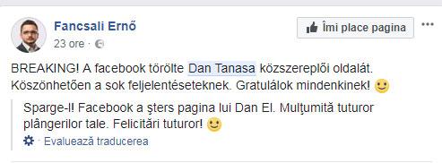 Francsali Erno despre stergerea paginii de facebook a lui Dan Tanasa, foto: captura facebook