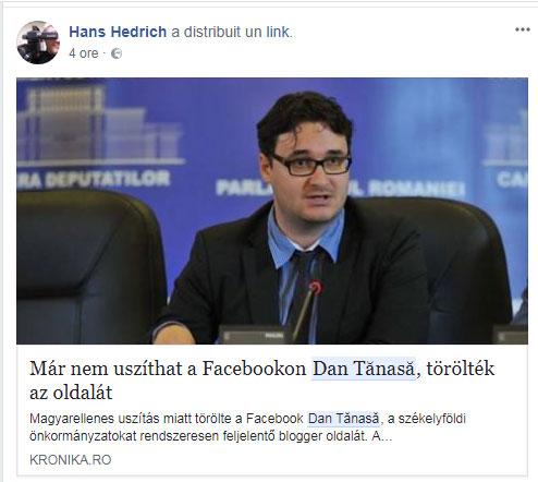 Hans Hedrich - Dan Tanasa, foto: captura facebook