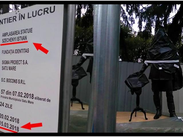 """Rusinos! Cui i-au amplasat statuie la Satu Mare? Lui Szechenyi, cel care spunea: """"Naţiunea ungară este aleasă de Dumnezeu pentru a domina toate popoarele din jurul ei"""", Foto: facebook.com/alexandru.vasile.35"""