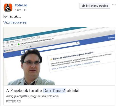 Foter.ro despre stergerea paginii lui Dan Tanasa, foto: captura facebook