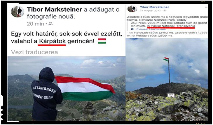 Provocare! Gest sfidator cu steagul Ungariei facut de un politist de frontiera maghiar prin muntii României! N-ar fi timpul ca si autoritatile romanesti sa ceara niste explicatii la nivel diplomatic?, Foto: facebook