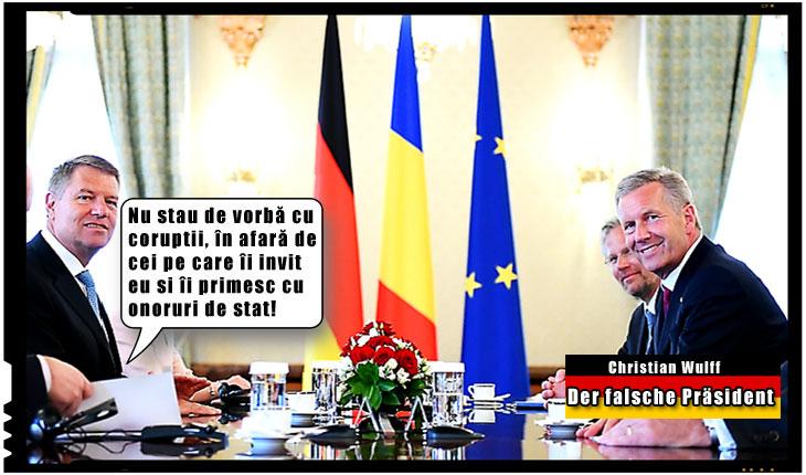 Mediatorul ... ptiu... Meditatorul de la Cotroceni nu sta de vorbă cu corupții, în afară de cei pe care-i primește cu onoruri, Foto original: presidency.ro