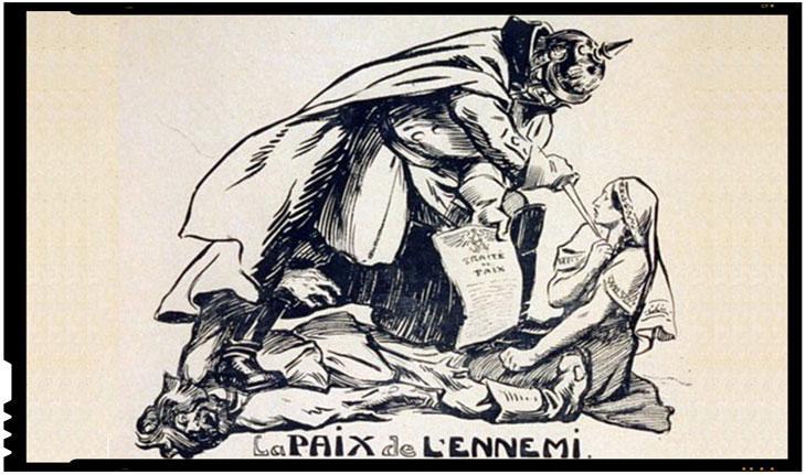 La 24 aprilie 1918 era semnat Tratatul de pace de la București, o pace înrobitoare pentru România, Foto: caricatură a vremii, Kaiserul german amenință cu un pumnal o femeie (România), ca să semneze tratatul de pace