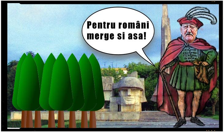 Când ai primar care urăște România: Monumentul Ostaşului Român de la Carei dosit de ochii publicului după o perdea de tuia înaltă de 9 metri!