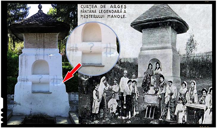 Atac la identitatea națională! Fântâna Meșterului Manole de la Curtea de Argeș a fost vandalizată!, foto: facebook/ Cristi Vasile Cristescu