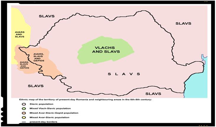 """Hartă școlară iugoslavă, din """"Školski istorijski atlas, Zavod za izdavanje udžbenika SR Srbije"""", Belgrad 1970, care ocultează complet existența românofonilor sud-dunăreni și o limitează pe a celor nord-dunăreni la Transilvania de sud"""