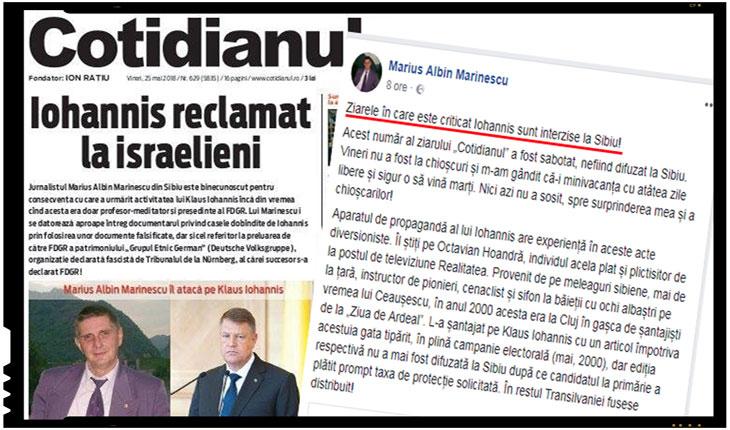 """Jurnalistul Marius Albin Marinescu: """"Ziarele în care este criticat Iohannis sunt interzise la Sibiu!"""", Foto: facebook.com/MariusAlbinMarinescu"""