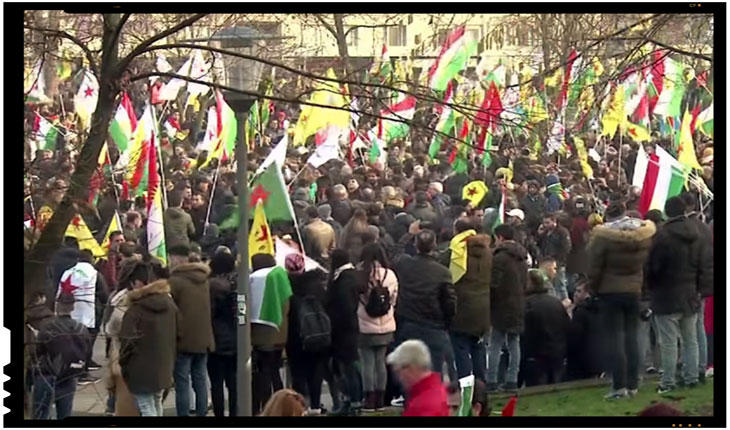 Protest al comunitatii kurde din Germania, Foto: captura video youtube