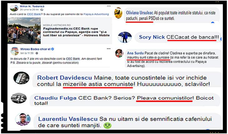 Pe pagina de facebook a celor de la CEC Bank au intrat hoarde imense de #rezistenți pentru a posta invective și alte mizerii, Foto: captura facebook