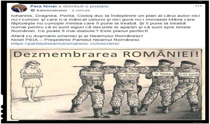 """Partidul Neamul Românesc: """"Iohannis, Dragnea, Ponta, Cioloş duc la îndeplinire un plan al cărui autor nici nu-l cunosc - Dezmembrarea României!"""", Foto: facebook.com/peia.ninel"""