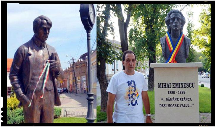 Replică patriotică la Carei: câte o panglică tricoloră a fost amplasată și pe statuile românești, Foto: buletindecarei.ro