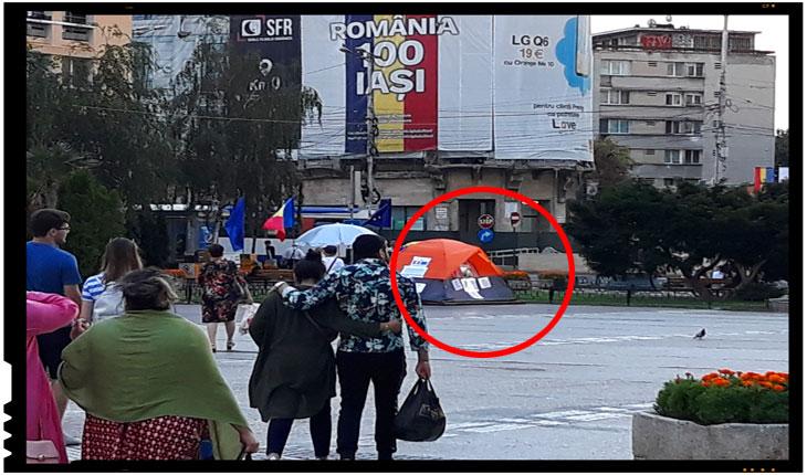 Cort amplasat la Iași în Piața Unirii