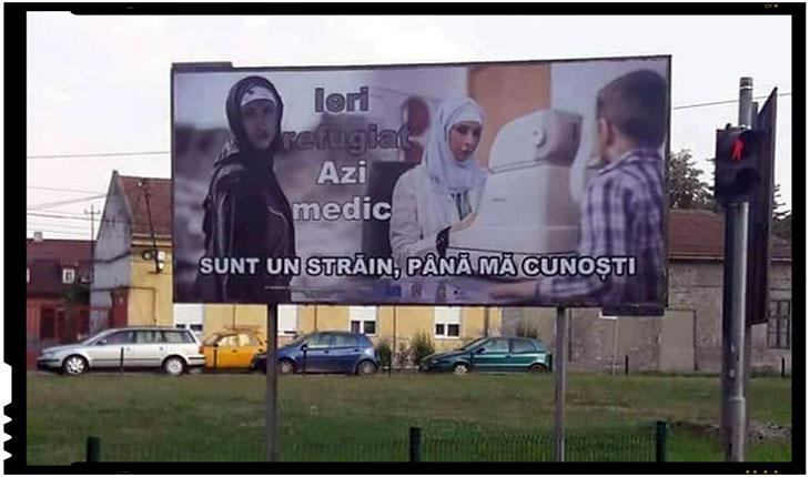 În România au început să apară panouri publicitare pro imigranți / refugiați, Foto: facebook