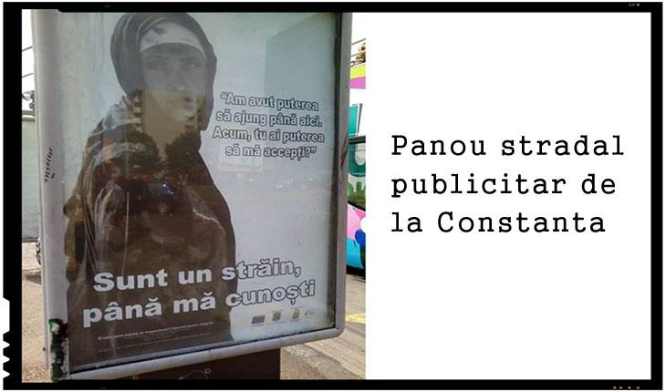 În România au început să apară panouri publicitare pro imigranți în mai multe centre urbane din țară: au fost semnalate dejade internauți asemenea panouri la Constanța, Timișoara și București, Foto: facebook