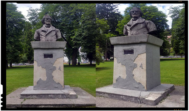 Statuia lui Nicolae Bălcescu din acelasi parc din Sinaia