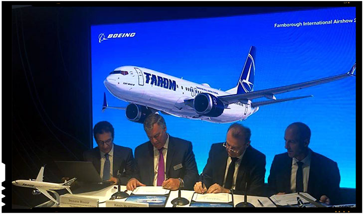 TAROM a cumpărat cinci aeronave Boeing noi, contractul fiind semnat la Londra, în prezența ministrului Transporturilor, Lucian Șova, Foto: facebook.com/MinisterulTransporturilor/