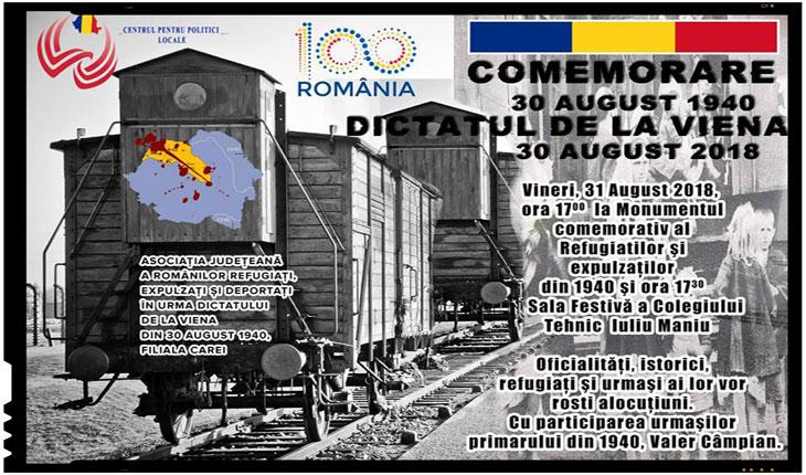"""Comemorarea dramelor trăite de români după Dictatul de la Viena din 1940: """"Centenarul Marii Uniri. Carei, ultima frontieră"""""""