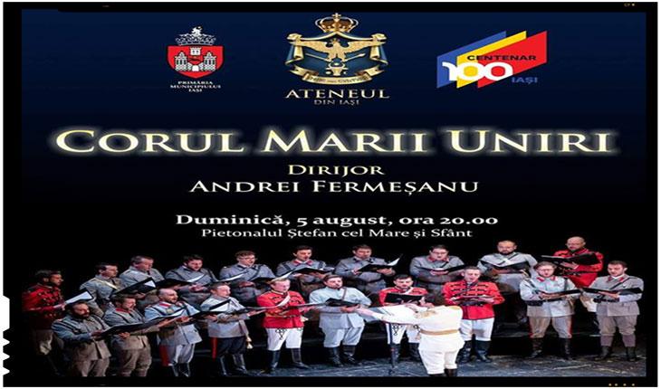 Eveniment dedicat Centenarului pe pietonalul Ștefan cel Mare din Iași: Corul Marii Uniri