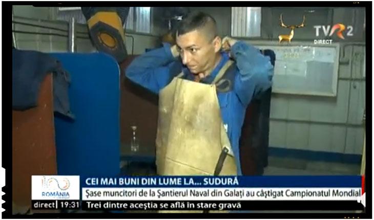România are cei mai buni sudori din lume! Șase muncitori de la Şantierul Naval din Galaţi au câştigat Campionatul Mondial de Sudură, organizat în China, Foto: TVR 2