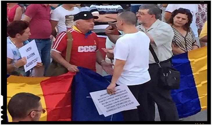 """Războiul steagurilor la IAȘI: """"I-am spus că-mi dau jos tricoul dacă schimbă steagul cu cel al României și dispare și steagul NATO de la miting!"""", Foto: facebook.com/liviu.tiganasu"""