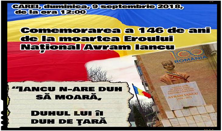 Eveniment special la Carei: Comemorarea a 146 de ani de la moartea Eroului Național Avram Iancu