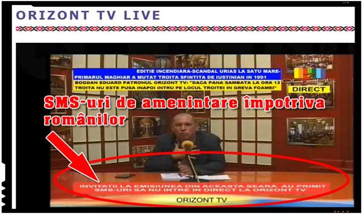 SMS-uri de amenințare pentru invitații de la Orizont TV pentru a nu intra în direct să vorbească despre problema troiței românești înlăturate de la Satu Mare, Foto: Orizont TV