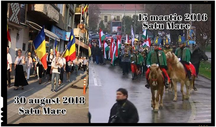 Discriminare clară la Satu Mare: manifestările românești înghesuite pe trotuar, cele maghiare pot ocupa toată strada
