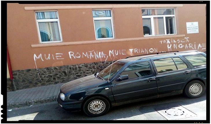 Provocare antiromânească în județul Mureș! Inscripții șovine pe zidul unei clădiri, Foto: facebook.com/profile.php?id=100014138266503