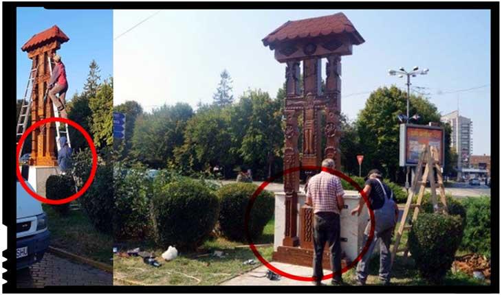 Troița nu a mai fost amplasată pe soclul de pe care a fost coborâtă, ci jos, în fața acestuia, Foto: BuletindeCarei.ro