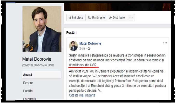 Război civil în USR! Până și unicul deputat care susținea fără rezerve căsătoria dintre un bărbat și o femeie fuge de bolșevismul din USR. A demisionat!, Foto: captura Facebook