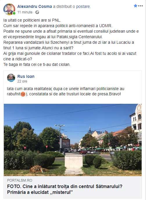 Vicepreședintele Consiliului Județean Satu Mare este de partea primarului UDMR în scandalul legat de dezafectarea troiței românești din localitate