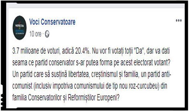 Ce-i drept, după referendum, în mediile conservatoare se vorbește despre ideea coagulării celor care prețuiesc valorile conservatoare într-un partid politic, Foto: Facebook / Voci Conservatoare
