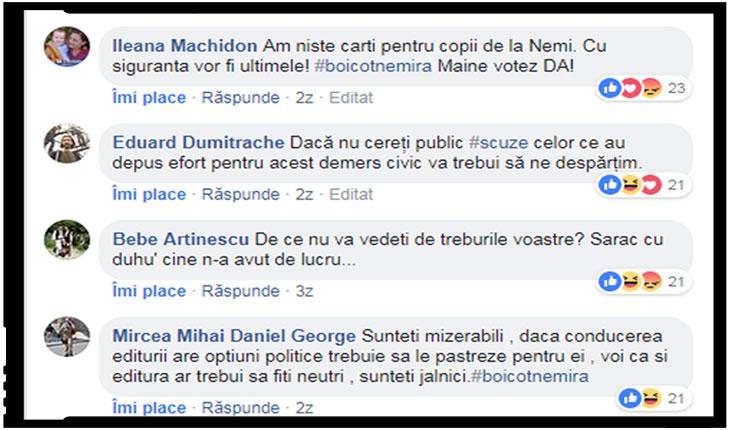 Cititorii editurii Nemira cer scuze publice, în caz contrar amenințând cu boicotul.