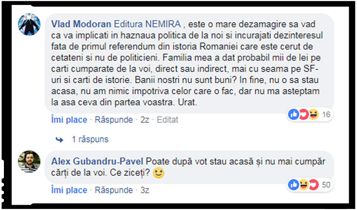 Implicarea editurii Nemira în lupta politică îi dezamăgește pe o parte dintre cititorii săi.