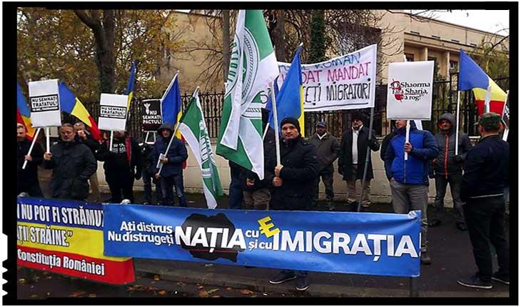 Protest împotriva Pactului pentru Migrație în fața Ministerului de Externe din România, Foto: facebook.com/crissie.contesa