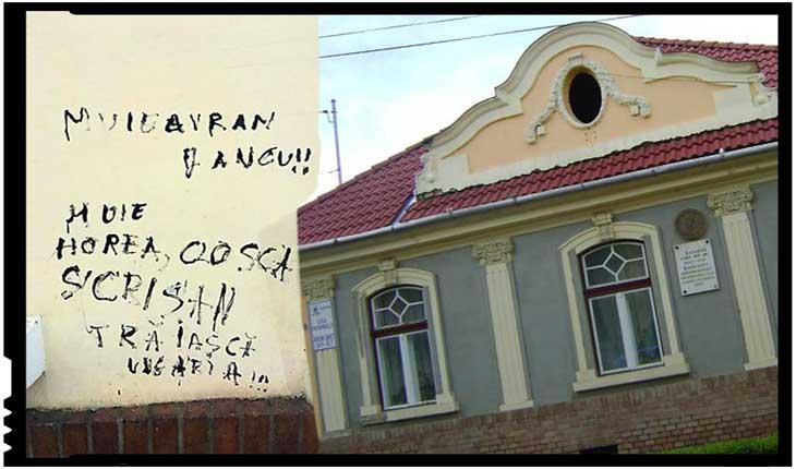 """Antiromânism! Casa memorială ,,Avram Iancu"""" de la Târgu Mureș, vandalizată de către extremiști, Foto: facebook.com/marius.pascan.10"""