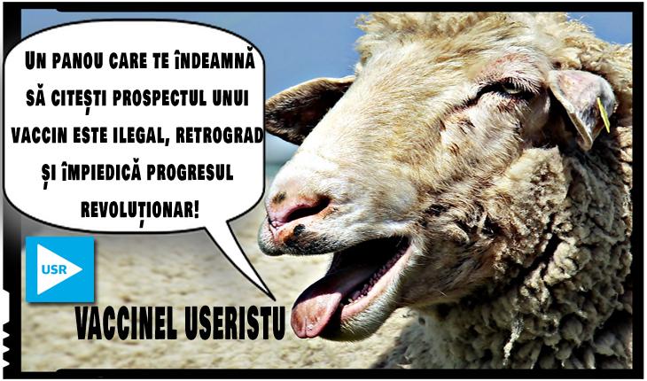 În noua și minunata lume închipuită de USR, e ilegal un panou care te îndeamnă să citești prospectul unui vaccin?