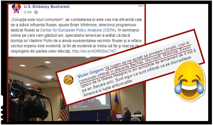 """Sorosiștii de la ambasada americana ironizați: """"Vă rugăm să ne ajutați să prindem corupții, rușii și comuniștii infiltrați în afacerile Bechtel, Microsoft, Motorola, Exxon"""", Foto: facebook"""