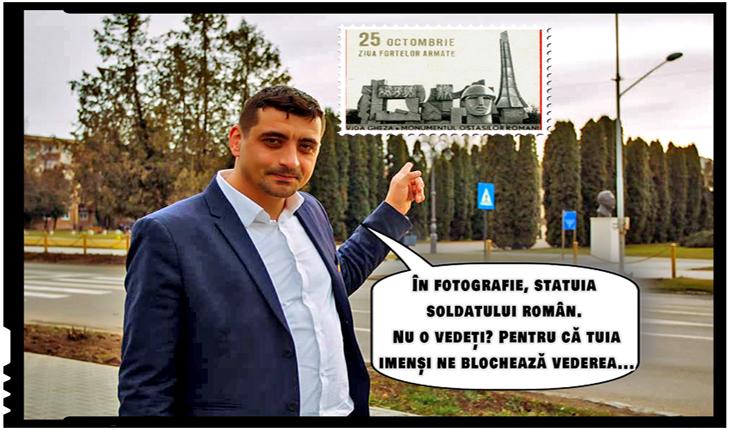 """George Simion, la Carei: """"În fotografie, statuia soldatului român. Nu o vedeți? Pentru că tuia imenși ne blochează vederea..."""", Foto: facebook.com/george.simion.unire"""