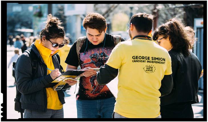 La cortul pentru strângerea de semnături necesare candidaturii lui George Simion, se distribuie struguri și mere de peste Prut