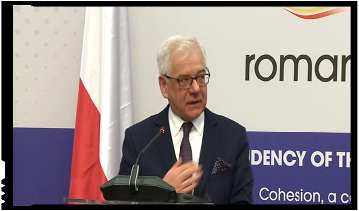 """Jacek Czaputowicz, Ministrul de Externe din Polonia: """"Noi suntem tratați nedrept, ca și alte țări din regiune, România, Ungaria, țările baltice"""", Foto: Youtube / MAE"""