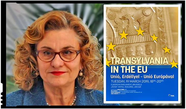 """Maria Grapini , indignată de afișul lui Laszlo Tokes din PE: """"Este o nouă provocare! Transilvania este parte a României!"""", Foto: facebook.com/partidulputeriiumaniste"""