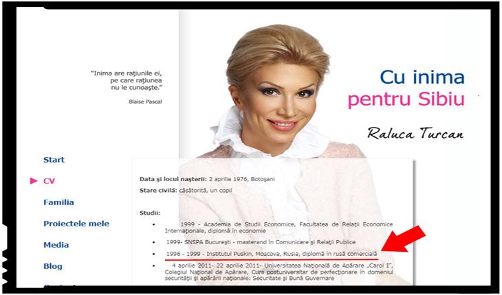 CV-ul public al Ralucăi Turcan, Foto: conspiratii.info