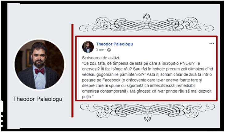 Theodor Paleologu despre PNL: E o faună râncedă și toxică. Cele mai mari lichele stau în primele rânduri, Foto: facebook.com/TPaleologu