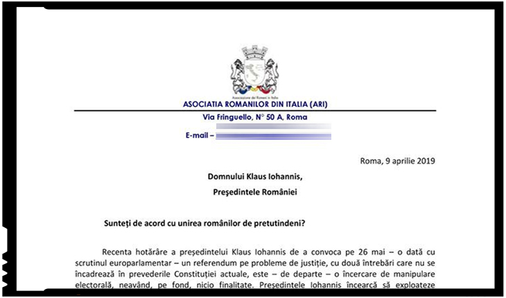 Asociația Românilor din Italia: Referendumul lui Iohannis, o încercare de manipulare electorală
