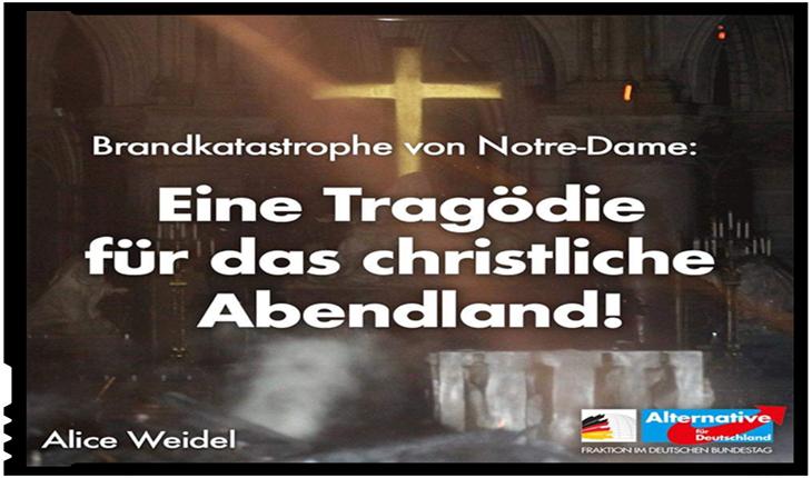 Lider al AfD despre incendiul de la Notre-Dame de Paris: crește intoleranța și discriminarea împotriva creștinilor din Europa, Foto: twitter.com/Alice_Weidel