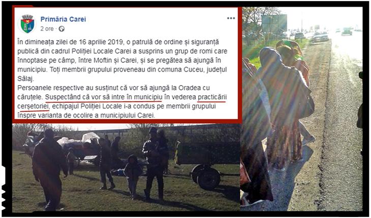 Primăria Carei descurajează cerșetoria interzicând intrarea romilor în municipiu, Foto: facebook.com/PrimariaCarei