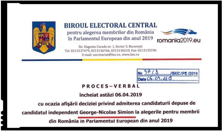 candidatura independenta la europarlamentare a lui George Simion, validata de BEC