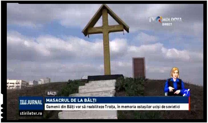 Troița închinată în memoria victimelor masacrului de la Bălți, reabilitată de către localnici, Foto: TVR Moldova