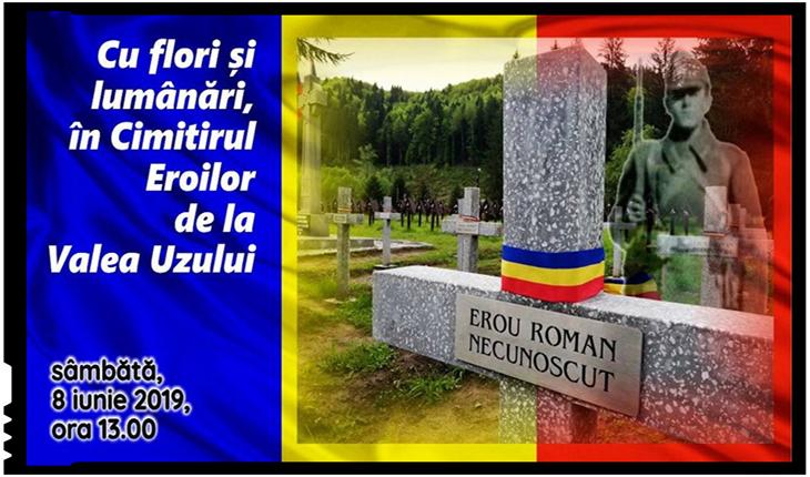 Cu flori și lumânări, în Cimitirul Eroilor din Valea Uzului, Foto: facebook.com/events/2293011064297656/